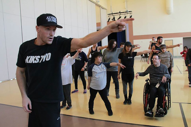 Opportunity Village OVIPs learned new hip-hop moves from the Aussie Hunks at Opportunity Village's Engelstad campus on March 29. Special to View