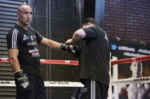 Arthur Abraham, the WBO super middleweight title holder at 168 pounds, gets ready to train at Top Rank Gym Monday, April 4, 2016, in Las Vegas. Abraham will defend his title against Gilberto Ramir ...
