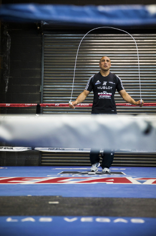 Arthur Abraham, the WBO super middleweight title holder at 168 pounds, works out at Top Rank Gym Monday, April 4, 2016, in Las Vegas. Abraham will defend his title against Gilberto Ramirez Saturda ...