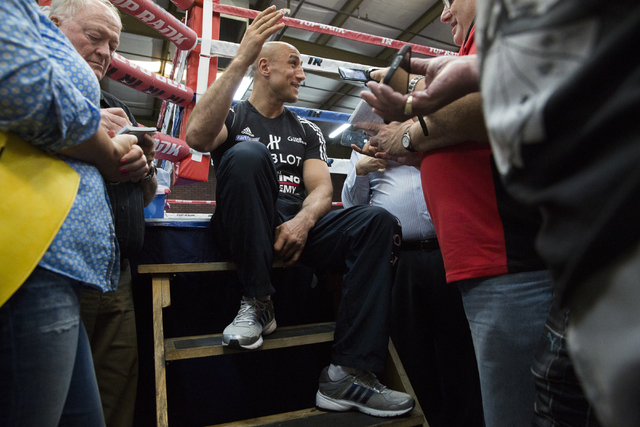 Arthur Abraham, the WBO super middleweight title holder at 168 pounds, talks to reporters at Top Rank Gym Monday, April 4, 2016, in Las Vegas. Abraham will defend his title against Gilberto Ramire ...
