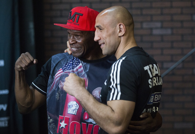 Arthur Abraham, right, poses for a photo with Floyd Mayweather, Sr. on Monday, April 4, 2016, in Las Vegas. Abraham will defend his title against Gilberto Ramirez Saturday night as the undercard f ...