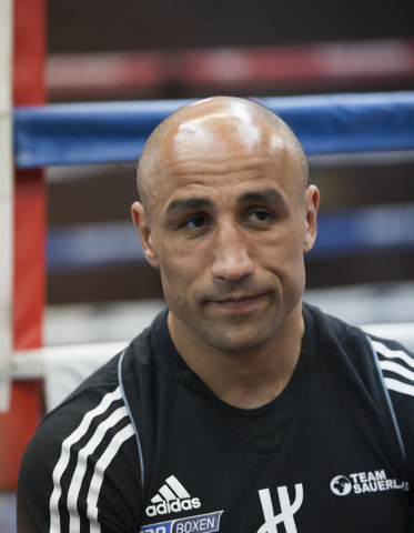 Arthur Abraham, the WBO super middleweight title holder at 168 pounds, before his work out at Top Rank Gym Monday, April 4, 2016, in Las Vegas. Abraham will defend his title against Gilberto Ramir ...