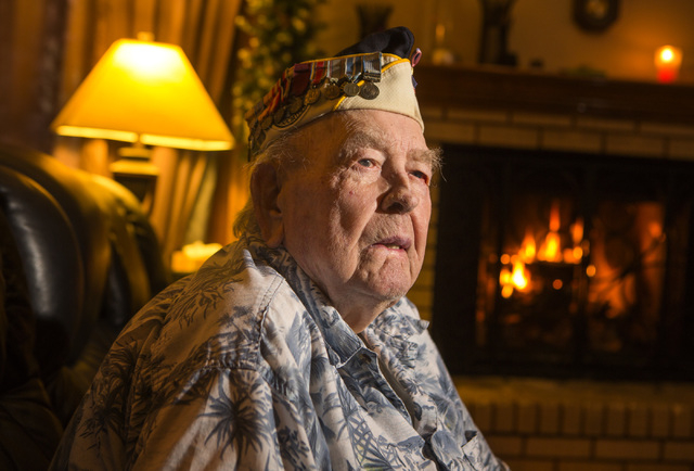 """Clarendon""""Clare"""" Hetrick, a sailor on the USS Arizona when the Japanese attacked Pearl Harbor, sits for a photo in the family's northwest Las Vegas home on Wednesday, Dec. 03, 2014. Hetrick died M ..."""