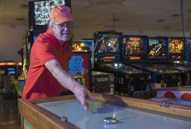 Pinball Hall of Fame owner, Tim Arnold, plays an arcade game at his museum at 1610 E. Tropicana Ave. in Las Vegas on Thursday, April 14, 2016. (Martin S. Fuentes/Las Vegas Review-Journal)
