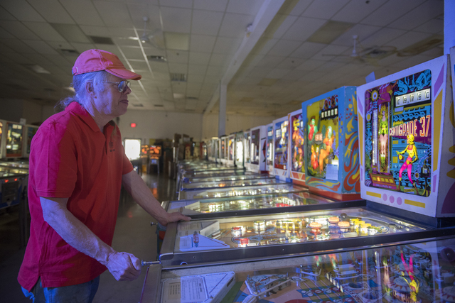 Pinball Hall of Fame owner, Tim Arnold, plays Gottlieb's Centigrade 37, his favorite pinball game, at his museum at 1610 E. Tropicana Ave. in Las Vegas on Thursday, April 14, 2016. (Martin S. Fuen ...