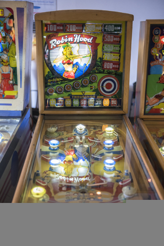 The very first flipper pinball machine was introduced in 1947 and can be seen and played at the Pinball Hall of Fame at 1610 E. Tropicana Ave. in Las Vegas on Thursday, April 14, 2016. (Martin S.  ...