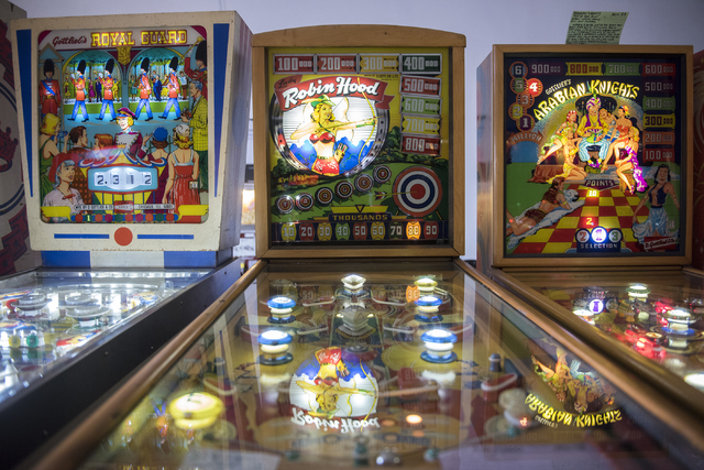 Vintage pinball machines, like Gottlieb's Lady Robin Hood, can be seen and played at the Pinball Hall of Fame at 1610 E. Tropicana Ave. in Las Vegas on Thursday, April 14, 2016. (Martin S. Fuentes ...