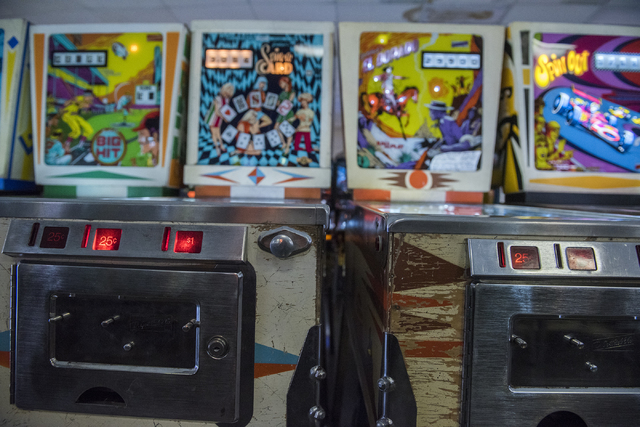 Vintage pinball machines can be seen and played at the Pinball Hall of Fame at 1610 E. Tropicana Ave. in Las Vegas on Thursday, April 14, 2016. (Martin S. Fuentes/Las Vegas Review-Journal)