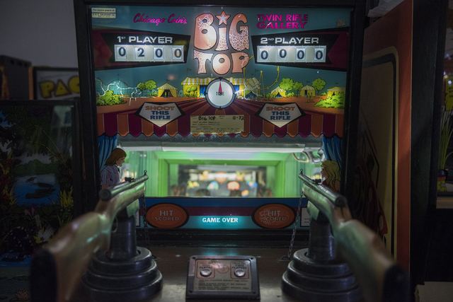 The Chicago Coin Big Top Twin Rifle game can be seen and played at the Pinball Hall of Fame at 1610 E. Tropicana Ave. in Las Vegas on Thursday, April 14, 2016. (Martin S. Fuentes/Las Vegas Review- ...