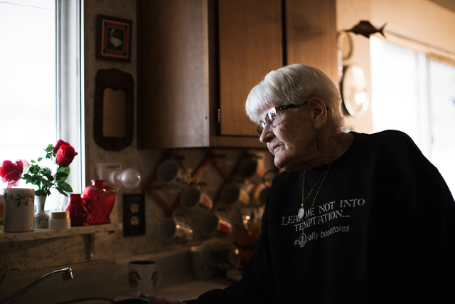 Lina Sharp, 96, is shown in her home in Railroad Valley, Nev.,100 miles east of Tonopah, on Friday, April 8, 2016. Randi Lynn Beach/Las Vegas Review-Journal