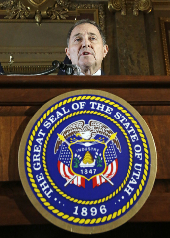 Utah Gov. Gary Herbert speaks during a ceremonial signing of a state resolution declaring pornography a public health crisis, Tuesday, April 19, 2016, in Salt Lake City. Herbert recognized it's a  ...