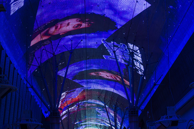 A tribute to Prince, who passed away at age 57, is shown at Fremont Street Experience in Las Vegas on Thursday, April 21, 2016. (Chase Stevens/Las Vegas Review-Journal) Follow @csstevensphoto