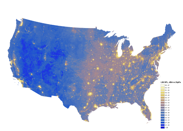 A soundscape map produced by the National Park Service's Natural Sounds and Night Skies Division shows ambient noise levels from human activity and natural sources. With its low population and lim ...