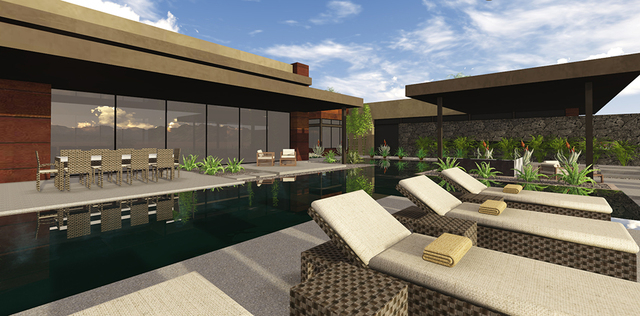 """Like all Blue Heron designs, the Millers' home bears the company's """"Vegas Contemporary"""" stamp. (COURTESY OF BLUE HERON DESIGN BUILD)"""