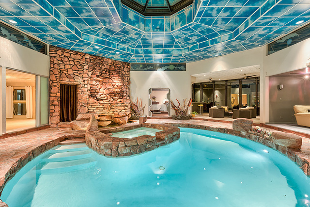Above the pool is a 10-foot motorized octagon skylight that can be opened to let the desert breeze in.  (COURTESY OF LUXE ESTATES & LIFESTYLE)