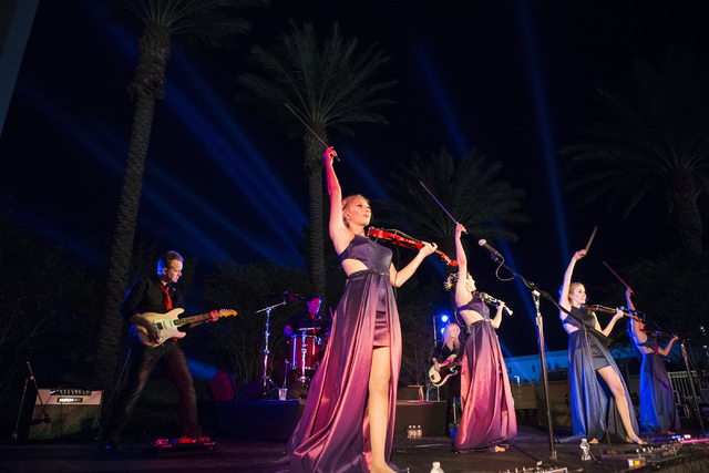 Bella Electric Strings performs during the Red Rock Resort 10th birthday celebration at Red Rock casino-hotel on Saturday, April 16, 2016, in Las Vegas. (Erik Verduzco/Las Vegas Review-Journal) Fo ...