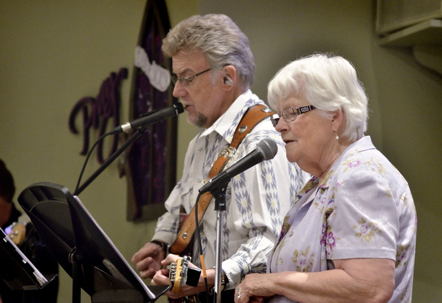 "John Thompson, left, and Joyce Annis of the Honkey Tonk Angels perform during the ""Country Western Gospel Service"" at Community Lutheran Church at 3720 E. Tropicana Ave. in Las Vegas ..."
