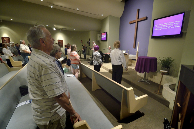 People participate in the ҃ountry Western Gospel ServiceӠat Community Lutheran Church at 3720 E. Tropicana Ave. in Las Vegas on Sunday, March 13, 2016. Bill Hughes/Las Vegas Review-Journal