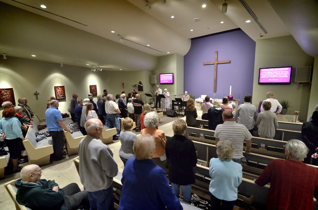 "The congregation is shown during the ""Country Western Gospel Service"" at Community Lutheran Church at 3720 E. Tropicana Ave. in Las Vegas on Sunday, March 13, 2016. Bill Hughes/Las V ..."