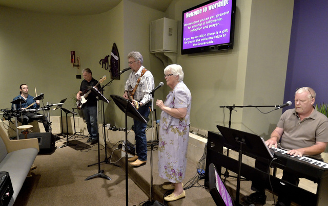 The Honkey Tonk Angels warm up before the ҃ountry Western Gospel ServiceӠat Community Lutheran Church at 3720 E. Tropicana Ave. in Las Vegas on Sunday, March 13, 2016. Band members are ...