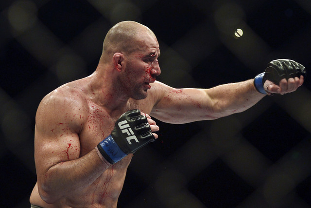 Glover Teixeira, shown during a fight against Jon Jones on April 26, 2014, in Baltimore, defeated Rashad Evans on Saturday in the first round in Tampa, Florida. Photo by Tommy Gilligan/USA TODAY