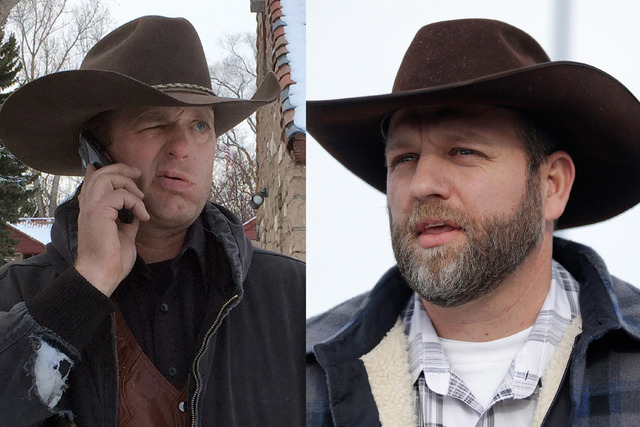 This is a combo of file photos showing the Bundy family from left to right, Ryan Bundy and Ammon Bundy. (AP Photos/File)