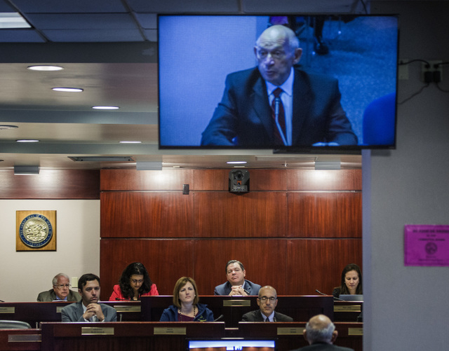 A video image is seen of education consultant Michael Strembitsky while he testifies at a legislative committee hearing for reorganizing the Clark County School District, Wednesday, April 13, 2016 ...
