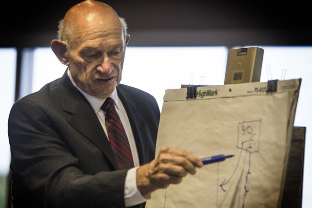 Education consultant Michael Strembitsky explains a workflow chart during a legislative committee hearing on reorganizing the Clark County School District, Wednesday, April 13, 2016, at the Grant  ...
