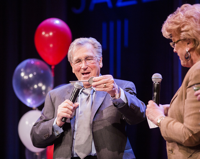 Comedian Shecky Greene,left, holds the Key to the City presented to him by Las Vegas Mayor Carolyn Goodman during Conversations with Norm in the Jazz Cabaret at The Smith Center on Sunday, April 3 ...