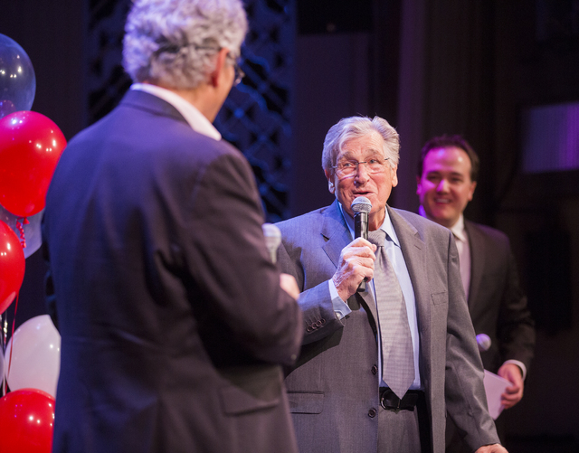"Comedian Shecky Greene speaks during Conversations with Norm in the Jazz Cabaret at The Smith Center on Sunday, April 3, 2016. On the right is  Shawn Tempesta, host of ""The Morning Blend& ..."