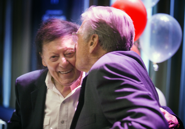 Comedians Shecky Greene,right, kisses Marty Allen during Conversations with Norm in the Jazz Cabaret at The Smith Center on Sunday, April 3, 2016. Jeff Scheid/Las Vegas Review-Journal Follow @jlscheid