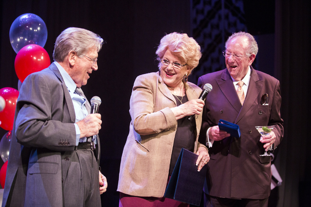 Las Vegas Mayor Carolyn Goodman and her husband former Las Vegas Mayor Oscar Goodman react when comedian Shecky Greene (left) pulls his pants up during Conversations with Norm in the Jazz Cabaret  ...