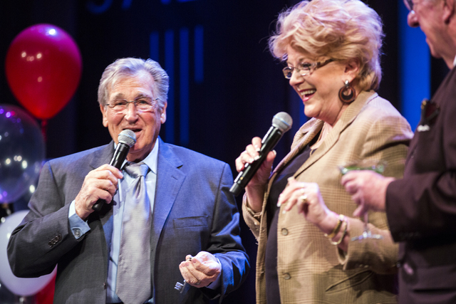 Comedian Shecky Greene speaks while Las Vegas Mayor Carolyn Goodman and her husband former Mayor Oscar Goodman present him with the Key to the City during Conversations with Norm in the Jazz Cabar ...