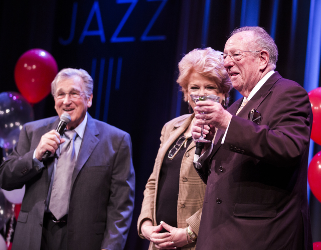 Former Las Vegas Mayor Oscar Goodman,right, and his wife current mayor Carolyn Goodman at toast to comedian Shecky Greene during Conversations with Norm in the Jazz Cabaret at The Smith Center on  ...