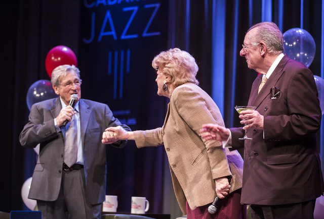 Comedian Shecky Greene,left, holds hands with Las Vegas Mayor Carolyn Goodman while she presents him with the Key to the City during Conversations with Norm in the Jazz Cabaret at The Smith Center ...