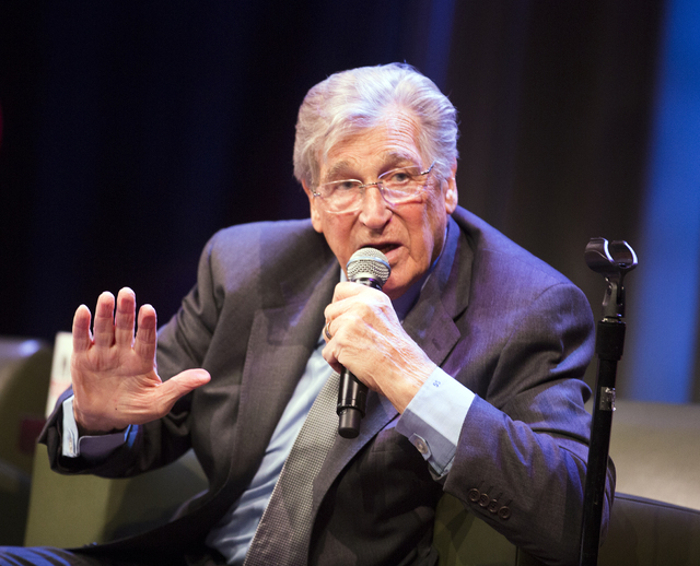 Comedian Shecky Greene shares a story during Conversations with Norm in the Jazz Cabaret at The Smith Center on Sunday, April 3, 2016. Jeff Scheid/Las Vegas Review-Journal Follow @jlscheid