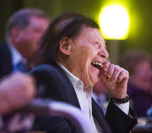Comedian Marty Allen laughs while his friend a follow comedian Shecky Greene shares a story during Conversations with Norm in the Jazz Cabaret at The Smith Center on Sunday, April 3, 2016. Jeff Sc ...