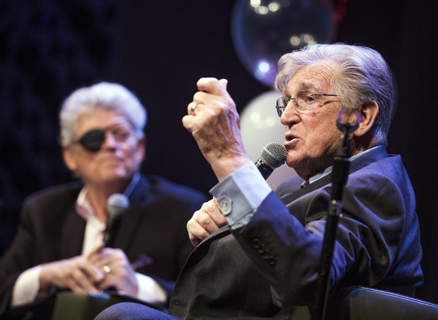 Comedian Shecky Greene tells a story during Conversations with Norm in the Jazz Cabaret at The Smith Center on Sunday, April 3, 2016. Jeff Scheid/Las Vegas Review-Journal Follow @jlscheid