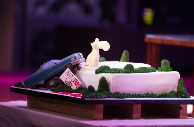 A birth cake presented to  comedian Shecky Greene by the  staff at Carlo's Bakery is seen during Conversations with Norm in the Jazz Cabaret at The Smith Center on Sunday, April 3, 2016.  Greene t ...