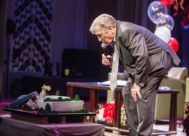 Comedian Shecky Greene looks at birth cake cake made by the staff at Carlo's Bakery during Conversations with Norm in the Jazz Cabaret at The Smith Center on Sunday, April 3, 2016.  Greene turns 9 ...