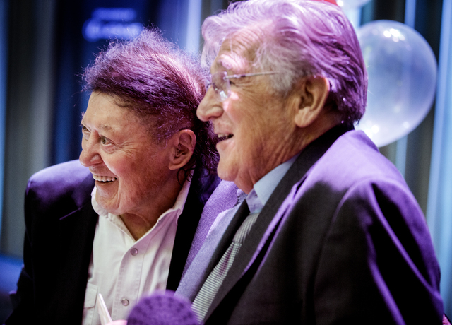 Comedians Shecky Greene,right, and Marty Allen stand for a photo during Conversations with Norm in the Jazz Cabaret at The Smith Center on Sunday, April 3, 2016. Jeff Scheid/Las Vegas Review-Journ ...