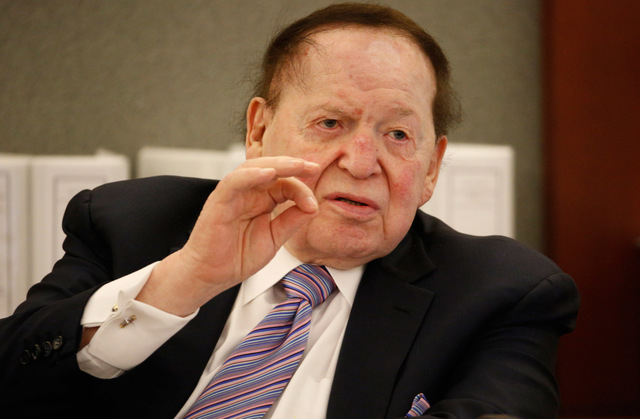 Las Vegas Sands Corp. Chairman and CEO Sheldon Adelson testifies in court Monday, May 4, 2015, in Las Vegas. (John Locher/AP)