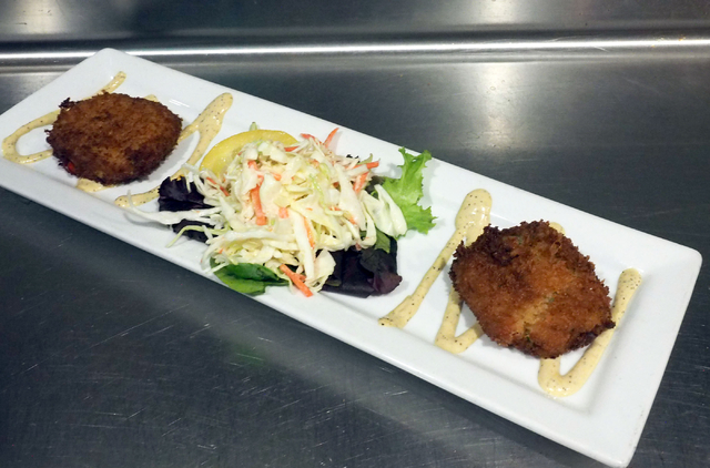 The crab cakes appetizer is shown at Shucks Tavern, 7155 N. Durango Dr., in Las Vegas, Friday, April 1, 2016. Jerry Henkel/Las Vegas Review-Journal