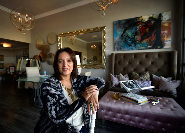 Interior designer Jill Abelman relaxes in her showroom at her Inside Style offices in downtown Las Vegas Friday, March 25, 2016. David Becker/Las Vegas Review-Journal Follow @davidjaybecker