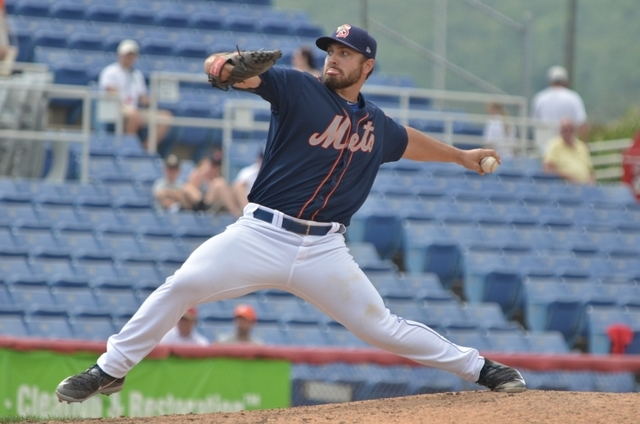 Las Vegas native Josh Smoker pitches for the Binghamton Mets during the 2015 season. Courtesy Binghamton Mets