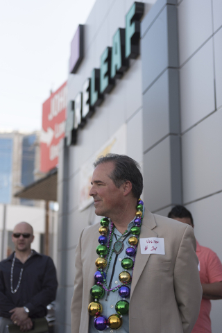 "John Laub, president of NevBio, stands in front of Las Vegas ReLeaf at 2244 Paradise Road during a walking tour of various medical marijuana dispensaries in Las Vegas' ""Green District"" Wednesday,  ..."