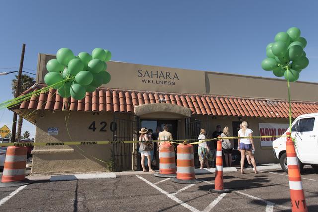 """Sahara Wellness at 420 E. Sahara Ave. is seen during a walking tour of various medical marijuana dispensaries in Las Vegas' """"Green District"""" Wednesday, April 20, 2016. The walkin ..."""