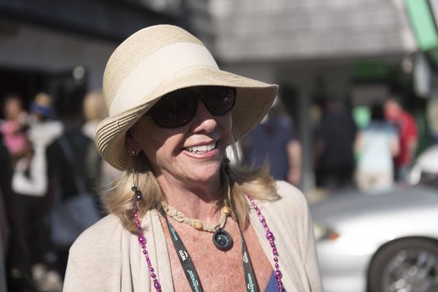 "Patrice Sowers, medical marijuana patient, speaks with a reporter at Sahara Wellness during a walking tour of various medical marijuana dispensaries in Las Vegas' ""Green District"" Wednesday, April ..."