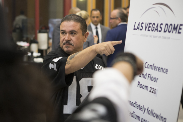 Tony Curiel stands inside the Stan Fulton Building at UNLV before a meeting with Oakland Raiders and local government and UNLV officials to discuss a proposed Las Vegas dome stadium on Thursday, A ...