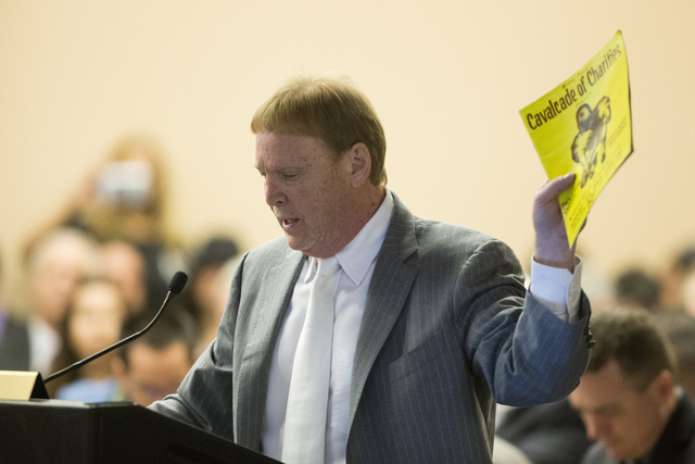 Oakland Raiders owner Mark Davis speaks on a proposed Las Vegas dome stadium during a meeting with local government and UNLV officials at the Stan Fulton Building at UNLV on Thursday, April 28, 20 ...